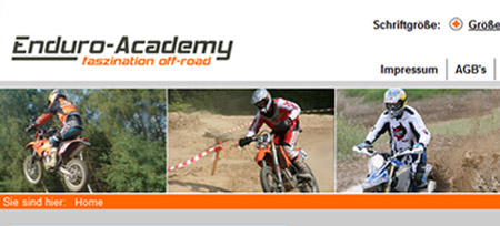 Screenshot der Webseite www.enduro-academy.de